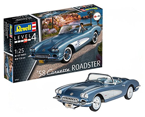 Revell 80-7037 Modellbausatz Auto - '58 Corvette Roadster im Maßstab 1:25, Level 4, originalgetreue Nachbildung mit vielen Details, 7037