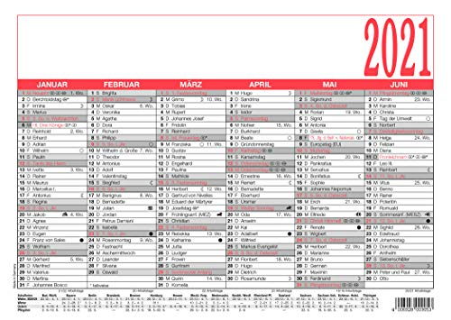 Tafelkalender mit Namenstage, A4, ca. 29,7x21,0cm, 6 Monate / 1 Seite