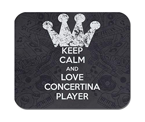 Makoroni - Keep Calm and Love Concertina Player - Non-Slip Rubber - Computer, Gaming, Office Mousepad