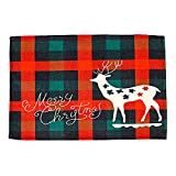 Mothcattl Christmas Placemat Waterproof Christmas Holiday Plaid Placemat Stain Resistant Non-slip E