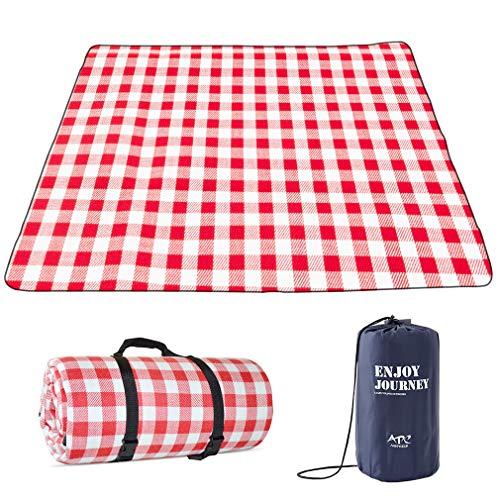 Lifetooler Picknickdecke wasserdichte,tragbar mit Trageriemen,Campingdecke wärmeisoliert Familien Matte für Picknicks,für Outdoor-Camping,Party,nasses Gras,Wandern,(200*200 (6-8 Personen), rot weiß)