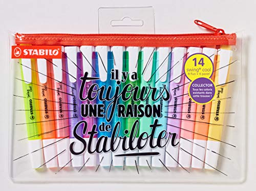 Evidenziatore - STABILO swing cool - Trousse con 14 Evidenziatori: 8 Fluo + 6 Pastel - Edizione Limitata