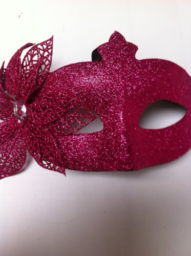 Rose Vif Paillettes Fleur Mascarade Masque