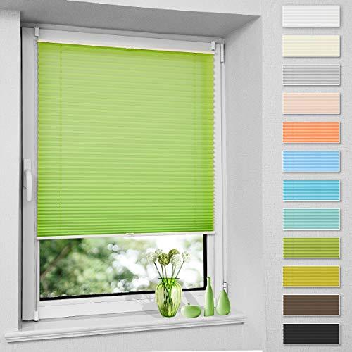 Plissee ohne Bohren, Klemmfix Jalousie Plisee Rollos (Grün, B35cm x H130cm) Faltrollo Plisseerollo Blickdicht Sichtschutz und Sonnenschutz für Fenster & Tür