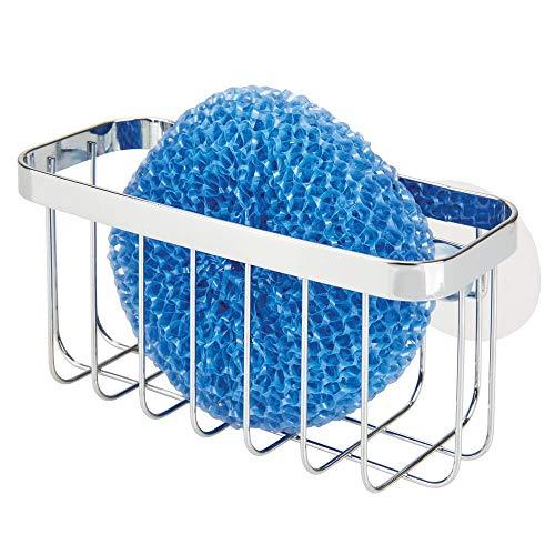 mDesign Organizador de fregadero con ventosas – Práctica cesta de rejilla para estropajos y bayetas – Portaestropajos de metal para la cocina – plateado