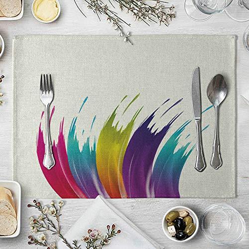 Daesar Tapete Mesa Rectangular Tela Colorido Tapete Mesa 40x30cm,2 Manteles Individuales de Mesa Graffiti Pintura