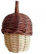 HOTPINK1 Sac de rangement fait main en rotin tissé en forme de pommes de pin avec poignée Panier de pique-nique Sac de piq...