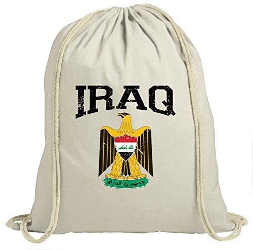 Irak Wappen Premium Turnbeutel   Republik Iraq   Saladin-Adler   Bagdad   Unisex   Gymbag, Farbe:Weiß (Gymbeutel);Größe:37cm x 46 cm