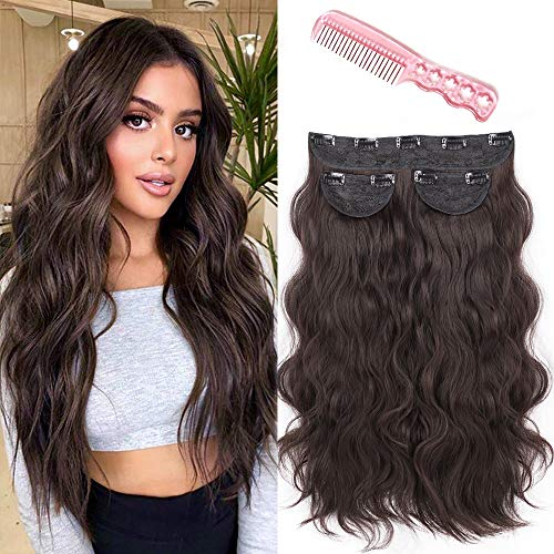 Dee Thens Clip in Synthetic Hair Extension for Women with Clip in Dark Brown Curl Wavy Hair Extensions Thick Hairpiece Wavy Full Head Hidden Crown Hairpiece 3PCS 20 Inches 260g.