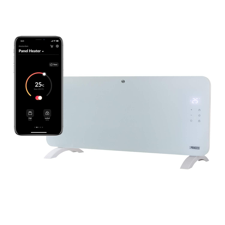 blanco Princess 01.341501.01.001 Calefactor con panel de cristal Smart 1500 W controlado por app