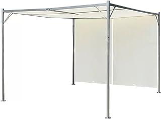 Tidyard Gazebo Pérgola Cenador de Jardín y Toldo con Techo retráctil Blanco Crema Acero 3x3 m