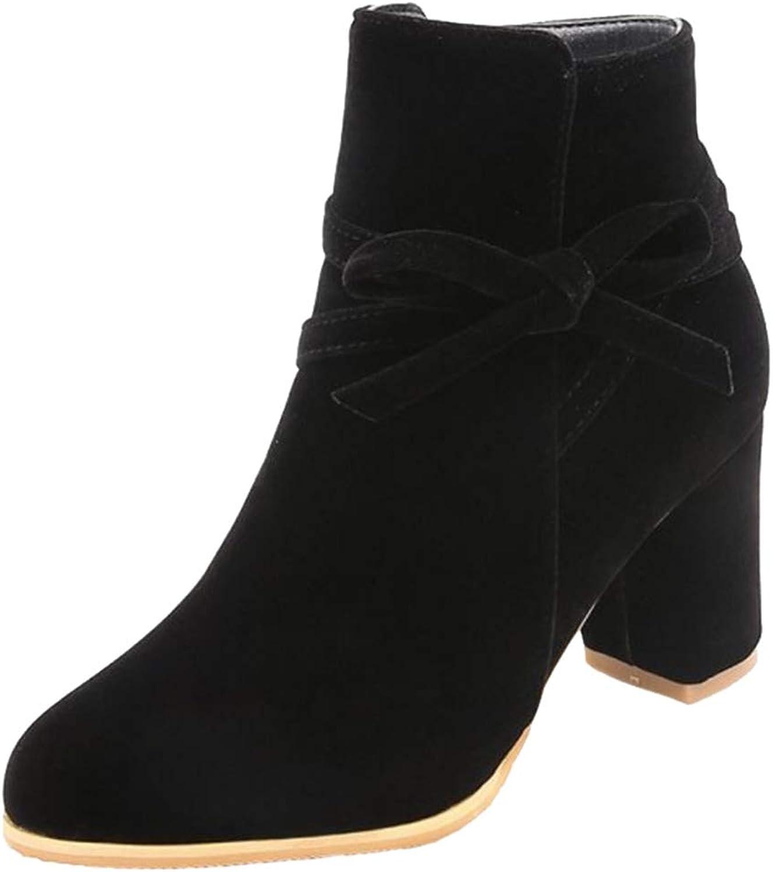 SJJH Women Fashion Bowtie Ankle Boots