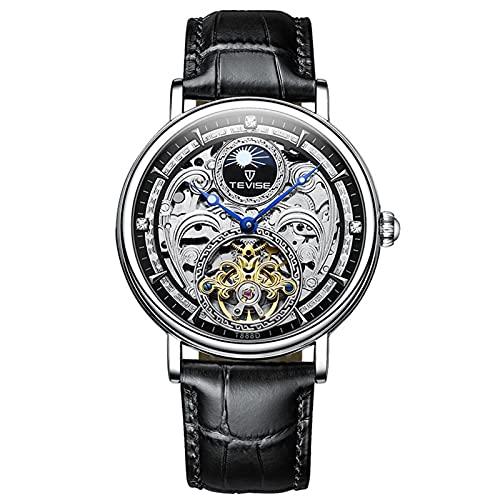 JTTM Reloj Mecánico Automático Relojes Esqueleto Reloj Hombre Mujer Piel de Vaca marrón Analógicos Unisex Impermeable,Negro