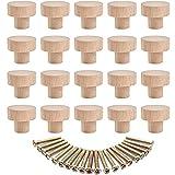 20 Piezas Tiradores para Cajones , Tirador para Mueble de Madera, Pomos Redondos de Madera, Tirador de Cajón con Apertura de Rosca, para Armarios y Cajones, Color Madera