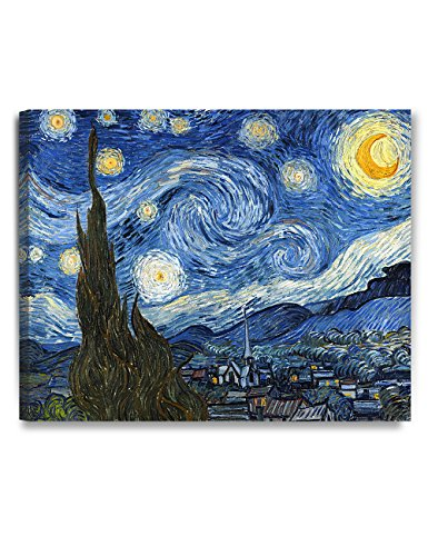 DECORARTS - Starry Night - Vincent Van Gogh Reproductions. Giclee Canvas Print Wall Art for Home Wall Decor. 30x24x1.5