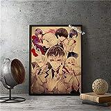 80 * 110cm Clásico japonés Caroon Comics Anime Tokyo Ghoul Carácter Vintage Retro Lienzo Pintura Imprimir cartel Arte de la pared Imagen Sala de estar Ventiladores Dormitorio Estudio Decoración par