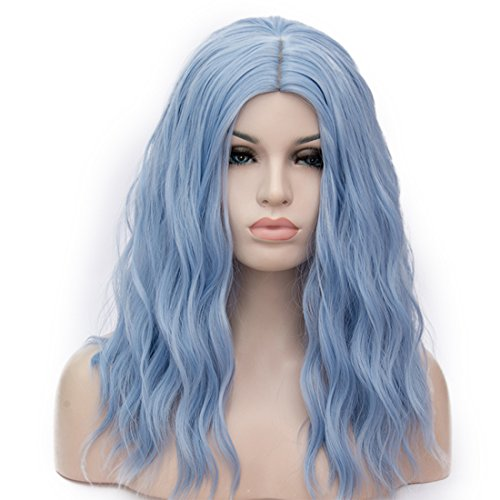 "BUFASHION 20"" Long Wavy Curly Water Blue Synthetic Wig for Women Girls Cosplay Wig Halloween Costume Wig with Wig Cap"