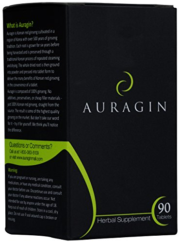 Auragin Authentic Korean Red Ginseng  Made in Korea  6 Year Roots  No Additives or Other Ingredients  100% Red Panax Ginseng in Every Tablet