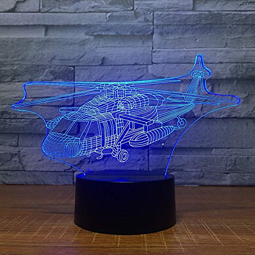 LIkaxyd 3D Illusion Lamp Combat Helicopter Optical Illusion Lamp 7 Colors Dimmable USB Powered Touch Control for Boys Girls Kids Gifts