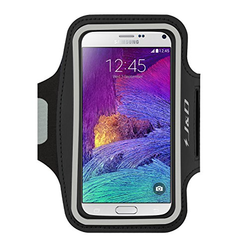 J&D Armband Compatible for Galaxy Note 4 Armband, Sports Armband with Key Holder Slot for Samsung Galaxy Note 4 Running Armband, Perfect Earphone Connection While Workout Running - Black