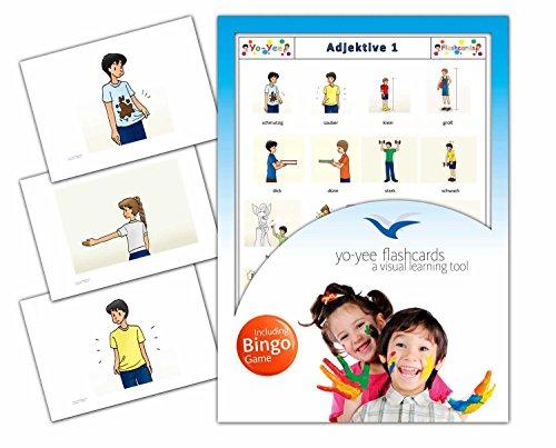 Yo-Yee Flashcards - Bildkarten in Größe DIN A5 mit passendem Bingospiel für den Deutschunterricht - Adjektive und Gegensatzpaare - Set 1 - Zur Sprachförderung in Kindergarten, Schulen und Logopädie