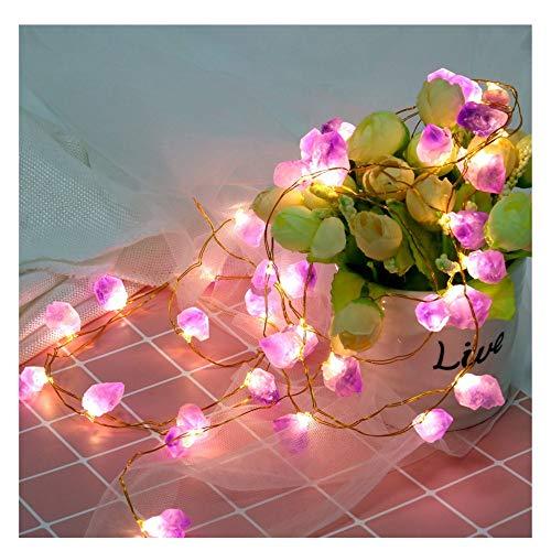 XLGX Pierre violette Guirlande Lumineuse,40 LED Alimenté par Batterie,Convient Pour les Mariages, la Saint-Valentin, les Fêtes, les Arbres de Noël ou Les Décors Hilarants (Violet)