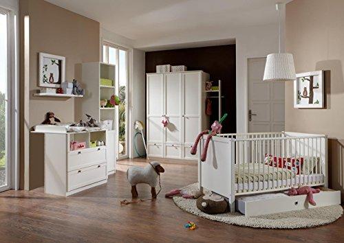 lifestyle4living Babyzimmer Komplett-Set in alpinweiß/weiß im Landhausstil, 5-TLG, umbaubar/mitwachsend, modernes Kinderzimmer für Jungen und Mädchen, zeitlos