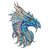 Raykul Wooden Jigsaw Puzzles, Mysterious Dragon Wooden Puzzles for Adults Teens, Extra Smile Size Dragon Puzzle Gift, 180 Unique Animal Shape Jigsaw Pieces, Ideal Family Game, M-13.8 x 9.8in-180pcs