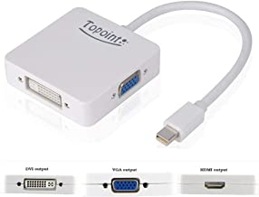 TOPOINT 3 in 1 Mini Displayport DP Thunderbolt to HDMI DVI VGA Adapter Converter Cable for MacBook Air, Old MacBook/MacBook Pro Before Mid 2015