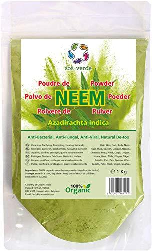 SOS-VERDE Polvo de Neem - 1 Kg - DIY Cuidado del Cabello, la Cara y el Cuerpo - Desinfectante, Desintoxicante, Anti Inflamatorio, Anti Hongos, Anti Acné, Antibacteriano, Anti Caspa