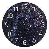 Reloj redondo sin garrapatas, signo del zodiaco de Acuario y constelación decorativo funciona con pilas para sala de descanso de escritorio, tienda de apartamentos