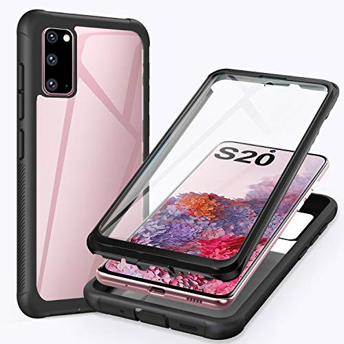 ivencase Samsung Galaxy S20 4G/5G Hülle, Stoßfest Cover S20 360 Grad vollschutz Handyhülle Rugged Schutzhülle Samsung Galaxy S20 6.2\'\' mit eingebautem Displayschutz Stürzen Stößen Handyhülle - Schwarz