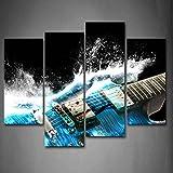 4 Stück Gitarre Im Blau Und Wellen Sieht Schön Wandkunst