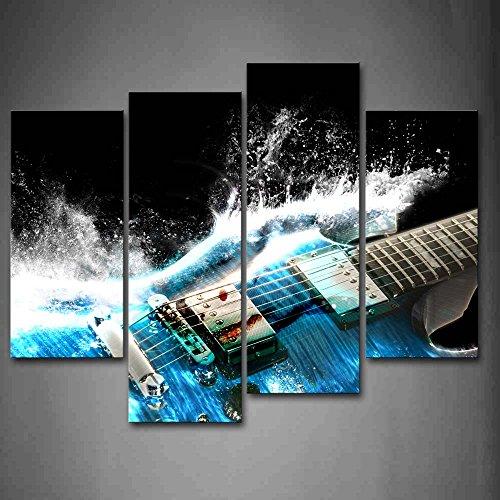 4 Stück Gitarre Im Blau Und Wellen Sieht Schön Wandkunst Malerei Das Bild Druck Auf Leinwand Musik Kunstwerk Bilder Für Zuhause Büro Moderne Dekoration