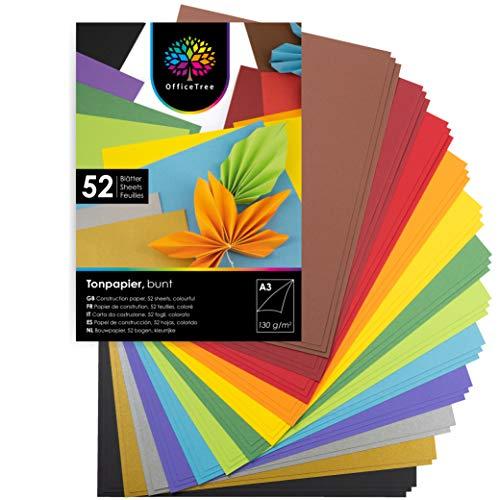 OfficeTree Tonpapier A3 Bunt - 10 Farben + 2 Gold- und 2 Silberbogen - Buntes Bastelpapier 52 Blatt 130g/m² - Tonkarton zum Basteln und Gestalten