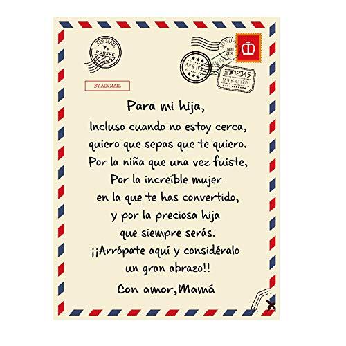 Manta para Mi Hija De Mamá,Edredones con Letras Impresas,Manta con Mensaje Personalizado,A Mi Hija,El ánimo Y El Amor Positivos De Mamá,70 * 100cm