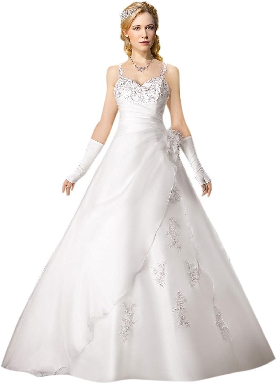 Dearta Women's ALine Spaghetti Straps Court Train Organza Wedding Dresses