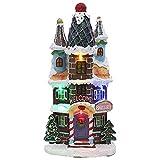 Fransande Figura de muñeca de Navidad artificial árbol pequeño casa aldea,...