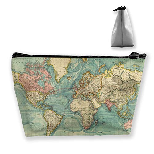 Trapezoid Makeup Pouch Storage Holder Vintage Style World Map Womens Travel Case Cosmetic Makeup Pouch