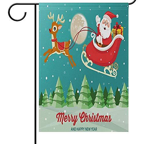 Tuinvlaggen Kerstman Slee Rendier Seizoensgebonden Huis Yard Vlag voor buiten, Boom Sneeuw Welkom Vakantie Tweezijdige Yard Vlaggen 32X45.7CM voor Decoratieve Partij Home Decor