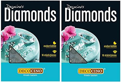 Decocino essbare Diamanten | edle Tortendekoration | essbare Glitzersteine | funkelnde Streudeko | 2 x 16 Stück