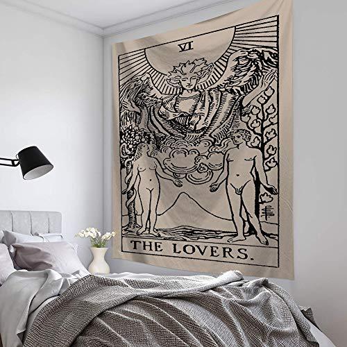 LLQ Tarot Wandteppich The Moon The Star and Sun Wandteppich Mittelalter Europa Divination Wandbehang Dekoration geheimnisvoll für Schlafzimmer Home Decor, Sun Tapestry (D,200 * 150cm)