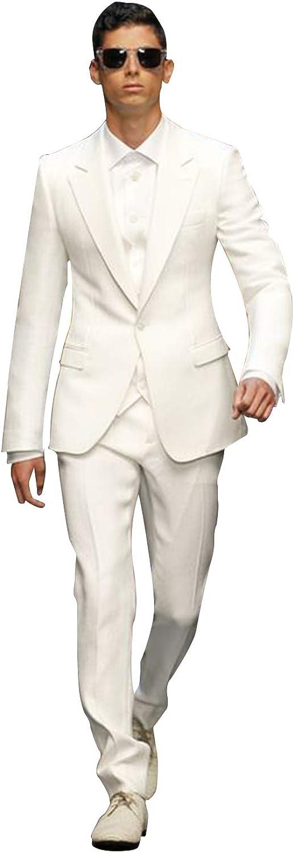 P&G Men's Three Pieces Suit One Button Tuxedo Business Wedding Party Jacket Vest & Pants