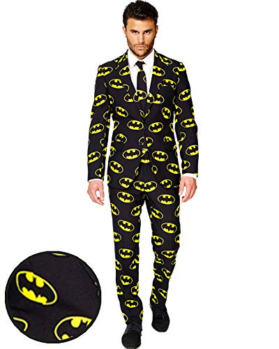 OppoSuits Batman Fasching Anzug für Herren besteht aus Sakko, Hose und Krawatte - EU62