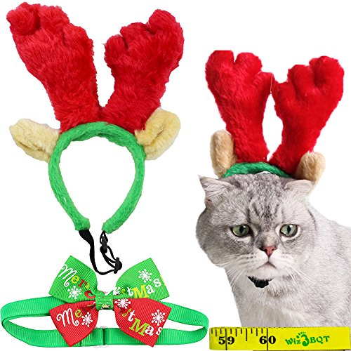 Wiz BBQT Cat Dog Christmas Reindeer Antler Headband and Bow Tie Collar for Cats Small Dogs Pets