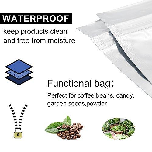 "GooGou Resealable Zip Mylar Bag Food Storage Aluminum Foil Bags Smell Proof Pouches 5.5x7.8"" 100pcs"