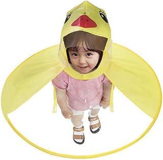 Aomerrt Cute Raincoat Cartoon duck Kids Rain Coat UFO Children Umbrella Hat Magical Hands Free Tops Boys And Girls Windpro...