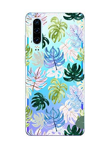 Oihxse Clair Case Compatible avec Xiaomi Mi 9 Se Coque en Silicone Transparent Motif Fleur Floral Feuilles Motif pour Filles Femmes Antichoc Housse Protection TPU Bumper Cover(3)