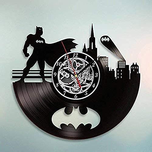 TZMR Disque Vinyle Horloge Murale Batman Arkham City Logo Meilleure Horloge Murale décorée avec Une Grande Maison Moderne de Cadeaux d'art de Super-héros pour Hommes et garçons