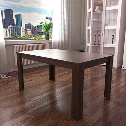 Vida Designs Medina 6 Seater Dining Table MDF Wood Rectangle Modern Kitchen Dining Room Furniture Unit, Walnut